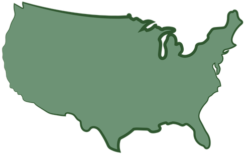 A green map of the United States