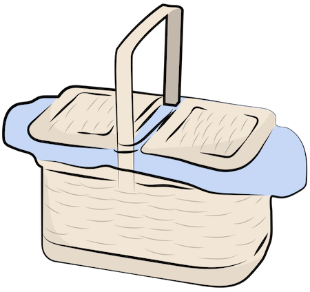 A tan wicker basket with the lid closed and blue napkins coming out of the top