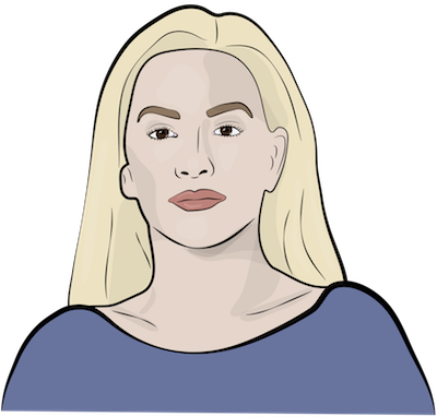 A drawing of a lady with blonde hair wearing a blue shirt