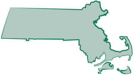 A green map of Massachusetts