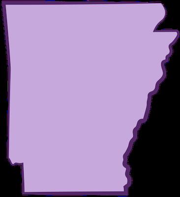 A purple map of Arkansas