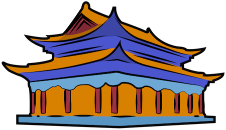 A drawing of an orange and blue Chinese temple