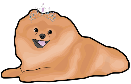 A drawing of a fluffy brown dog with black eyes and a black nose wearing a tiara laying down