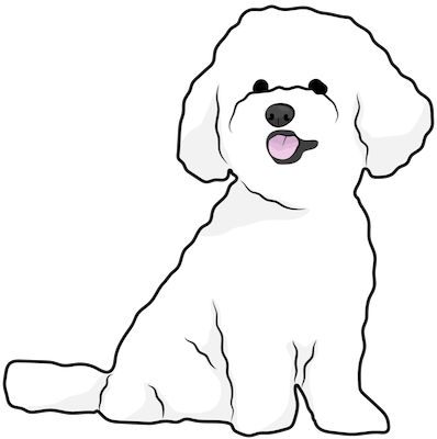 A drawing of a small, thick coated, white dog with ears that hang to the sides and a pink tongue showing sitting down