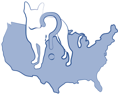 A drawing of a blue map of the United States of America with a white silhouette of a dog on top of it and a blue question mark on the dog
