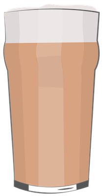 A drawing of a tall glass of brown beer