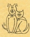 A drawn picture of a dog and cat sitting next to each other and wearing scarves.