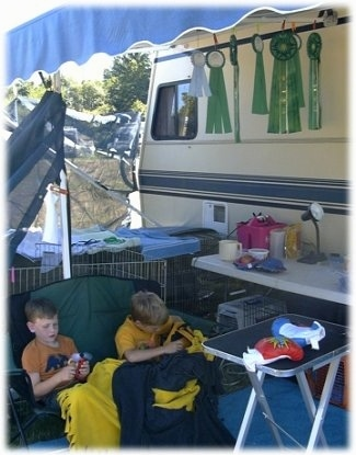 Two boys are sitting in a long lawn chair and they are playing with toys. They are under the shade of an awnings camper. There are ribbons hanging up in a camper.