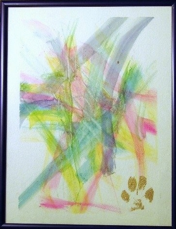 A painting done by Coyote the Australian Cattle Dog