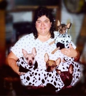 Breeder, Rene Wheeler with her Xolos dressed as Dalmatians