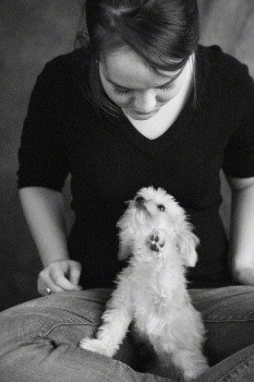 A black and white photo of Ellie the Chorkie sitting in her owners lap who is sitting in indian style. Ellie's owner is looking down at her and Ellie is looking up at the woman. One of Ellie's paws is in the air