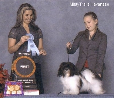 A girl is standing behind a dog on a table and she is posing. The dog is looking forward and to the left of them is a lady holding a ribbon.