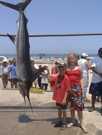 A boy in a hat and a blonde haired girl are standing next to a Striped Marlin that is hanging upside down from a line. They are both touching the large back fin of the marlin fish. The fish is larger than the kids.