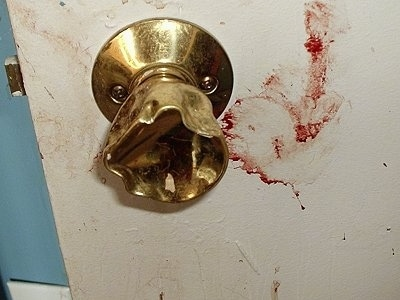 Close up - Blood near chewed up door knob