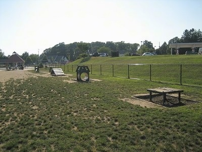 Agility Obstacle Equipment that is setup in a field.
