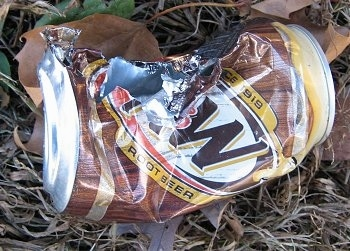 Chewed Up A&W root beer can