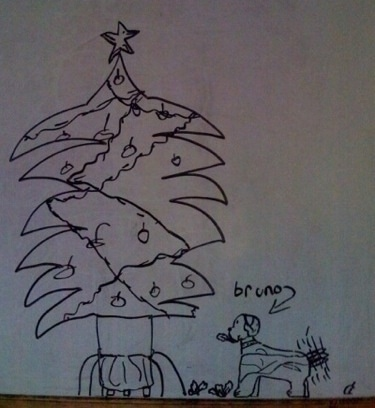 Drawing of Bruno the Boxer puppy chewing on a large Christmas tree with his tail wagging