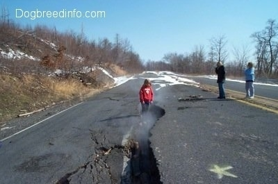 A Person standing in a steaming crack in the road. Two other people watch