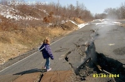 Sara standing next to a steaming road crack
