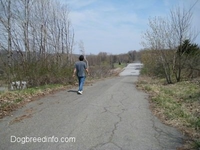 A Person walking down an empty Centralia Street