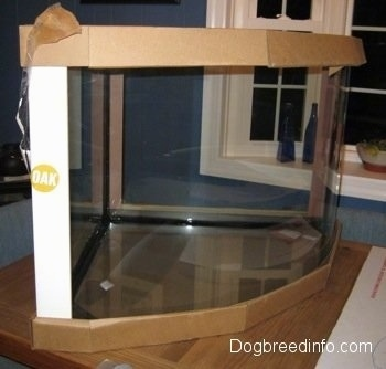 An empty aquarium on a wooden table