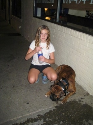 Bruno the Boxer laying in front of a store and Sara has a bottle of water to share