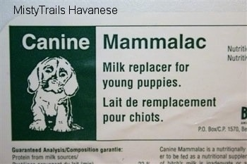 Puppy replacer milk label