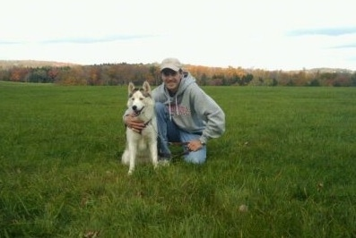 A black, grey and white Siberian Husky is sitting in a field next to a man in a grey hoodie who has its arm around the side of the dog.