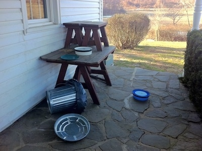 A wooden table on a stone porch in front of a white farm house with a knocked over trash can next to it. There is a white plastic upside down food bowl and a green plate on the table. Across from the table on the ground is an upside-down blue bowl.