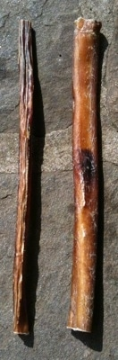 There are two bully stick bones adjacent to each other on a stone porch. One is thin and the other is thick
