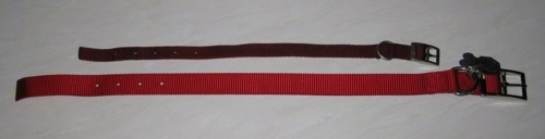 A small dog collar is laying next to a larger red dog collar.