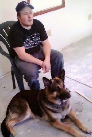 Sir Icarus Ace Von Trooper with his owner Cory