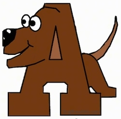 A drawn picture of a dog that is also the letter A
