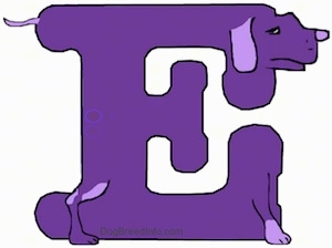 A drawn picture of a dog that is also the letter E