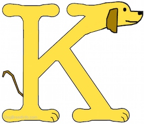 A drawn picture of a dog that is also the letter K