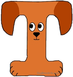 A drawn picture of a dog that is also the letter T