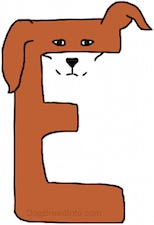 A brown drawn letter E that also looks like a dog