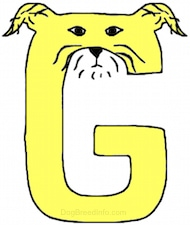 A yellow drawn letter G that also looks like a dog