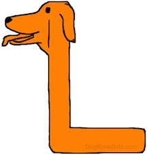 An orange drawn letter L that also looks like a dog