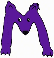 A purple drawn letter M that also looks like a dog