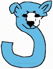 A light blue drawn letter S that also looks like a dog