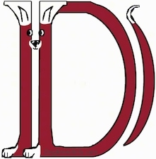 A drawn picture of a dog that is also the letter D