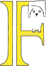 A drawn picture of a dog that is also the letter F