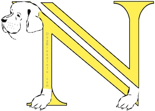 A drawn picture of a dog that is also the letter N