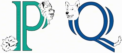 A drawn picture of dogs that are also the letters P and Q