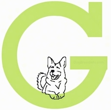 A drawn dog is laying at the base of the letter G