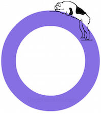 A drawn dog is sleeping on top of of the letter O