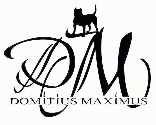 A logo with black letters that says 'DM Domitius Maximus' and there is a bully-mastiff type dog drawn in standing on top of the letter m in DM.