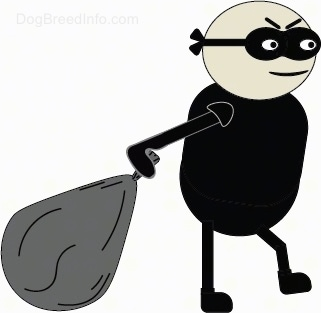 A drawn man with a black mask and black clothes carrying a gray sack.