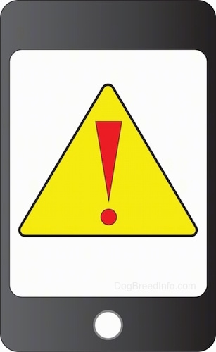A drawn black smart phone with a yellow caution triangle with a red exclamation mark in the middle of the screen.